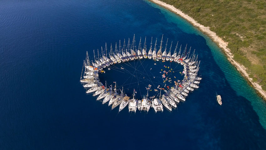 Sail Week Croatia circle raft party