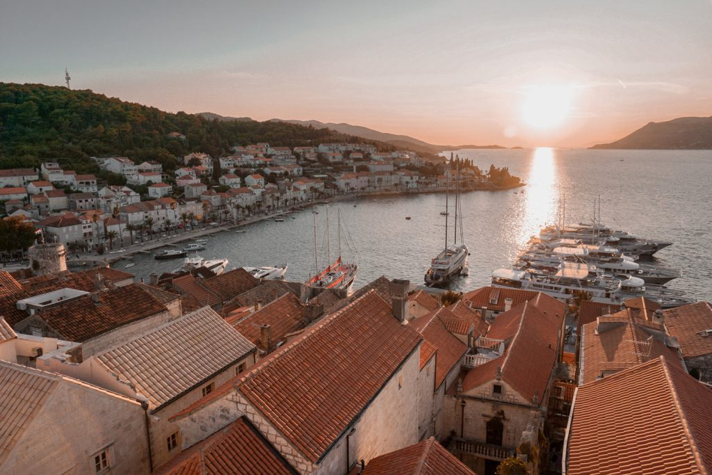 Korcula Old Town is the main attraction of Korcula Town – a medieval walled city positioned on an oval-shaped swelling of land pointing deep into Peljesac Channel.