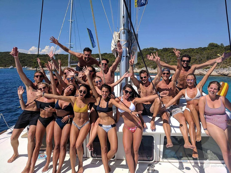 SailWeek Croatia crew party on the catamaran